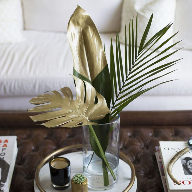Chic DIY: Gold Painted Tropical Leaves
