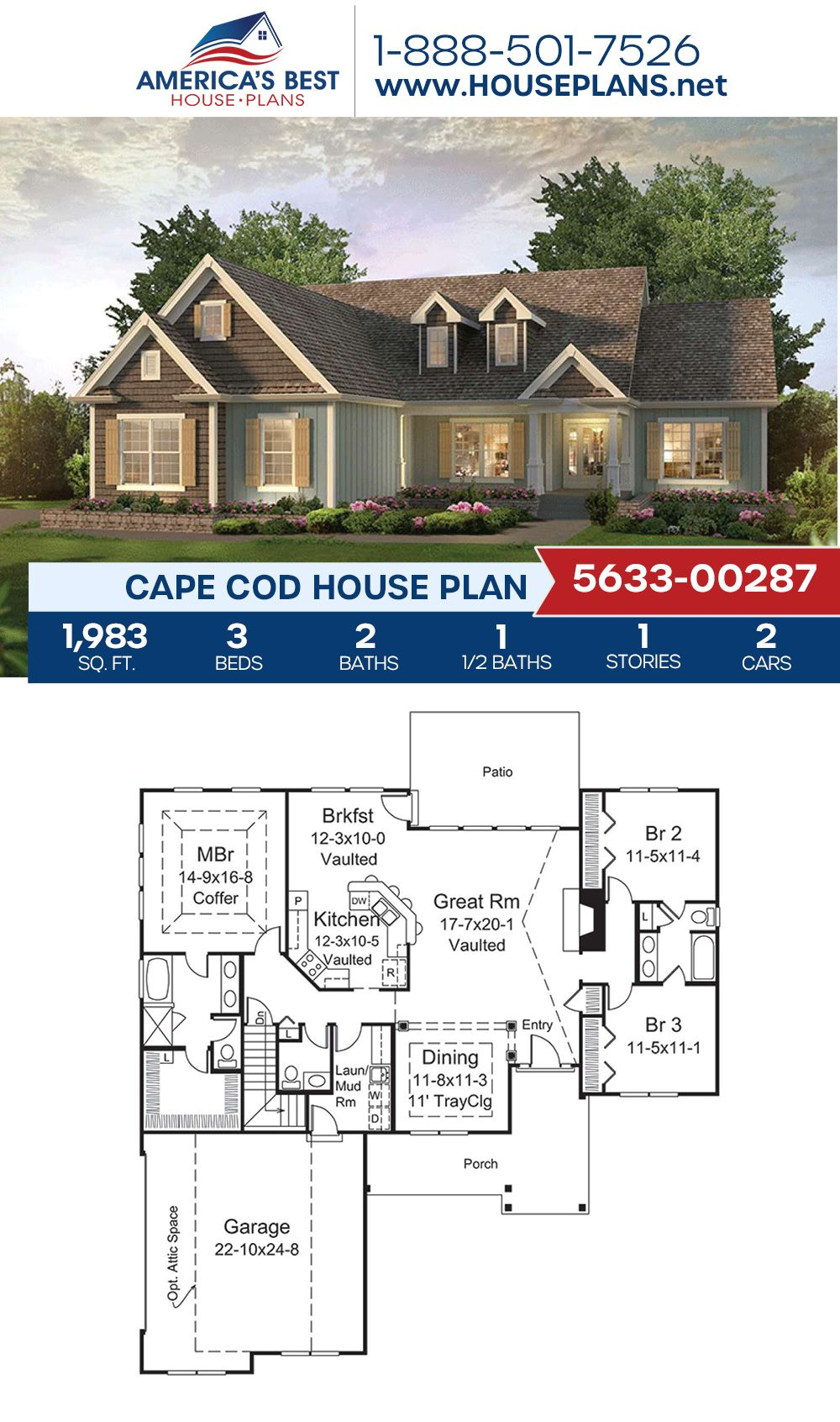 House Plan 5633 00287 Cape Cod Plan 1 983 Square Feet 3 Bedrooms 2 5 Bathrooms In 2020 Lake House Plans Cape Cod House Plans Craftsman House Plans