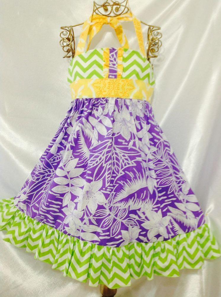 Girls Hawaiian  Ellie Halter Dress Size 4-5 Handmade; Everyday Use; 100 % Cotton #Handmade #Everyday