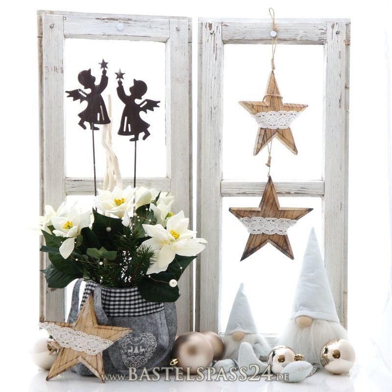 Fensterdeko Weihnachten mit Landhaus Deko, pfiffig selber