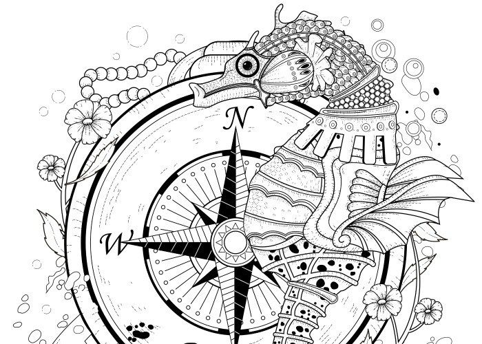 Steampunk seahorse coloring page printable adult Kleuren voor ...