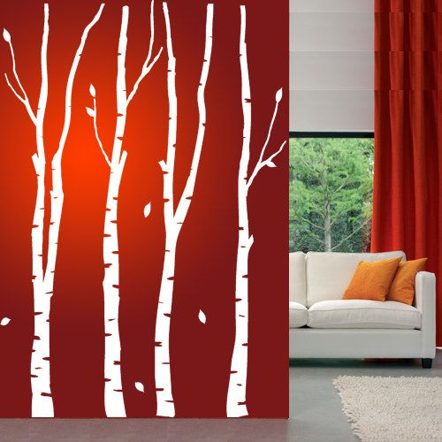 Wall Decals BIRCH TREES Self Adhesive Vinyl Wall Art Large T102 ...