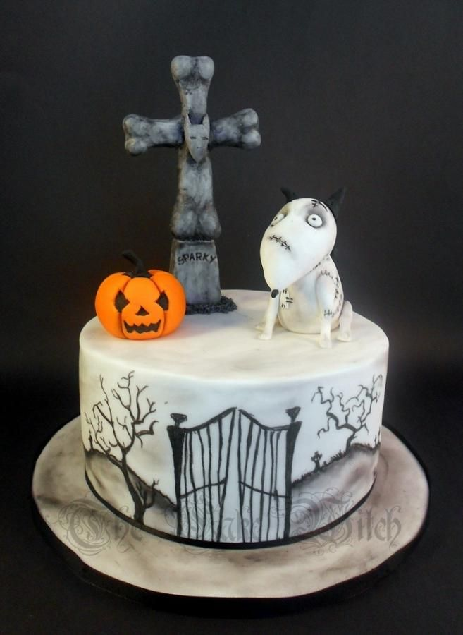 my daughters halloween cake with her current favourite character franky from frankenweenie details on the cake are hand painted