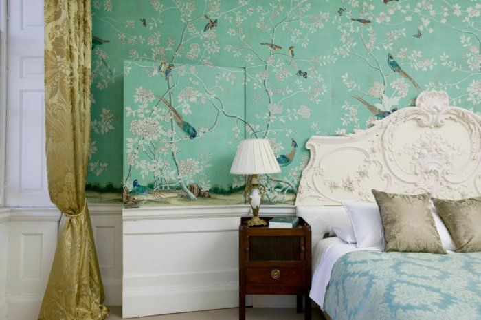 tapete vintage grün wald gardinen golden schlafzimmer gestalten - tapeten schlafzimmer gestalten