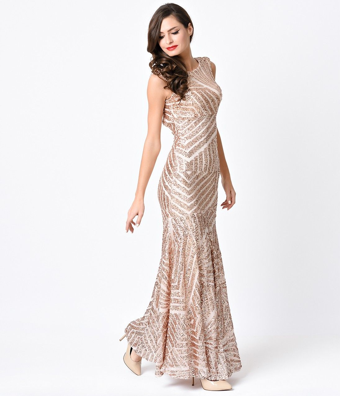 1930s Style Rose Gold Geometric Sequin Deco Beaded Evening Gown ...