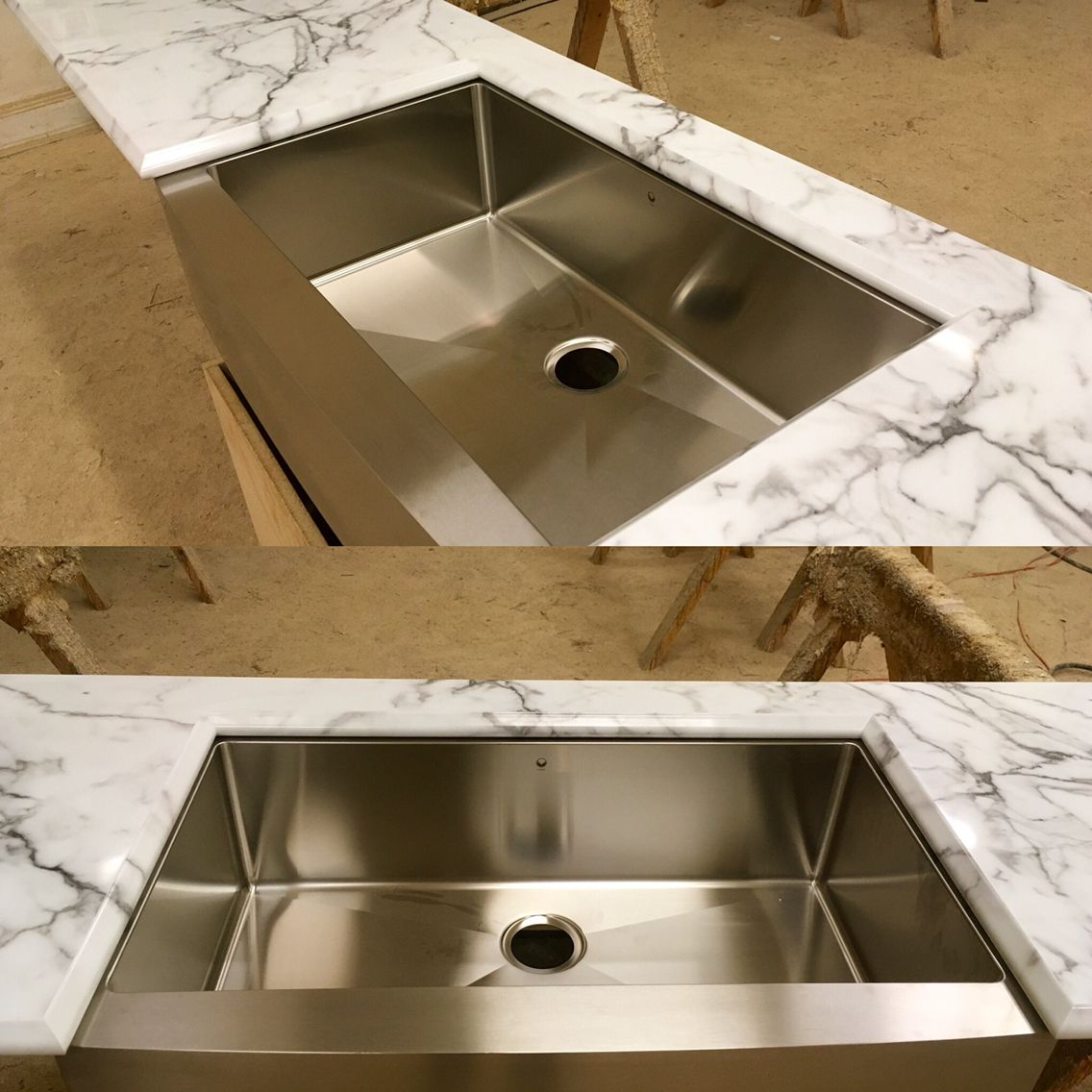 Beautiful Calcutta Marble High Gloss Laminate Countertop With A Vigo Stainless Steel Farm Sink Laminate Countertops Countertops Replacing Kitchen Countertops