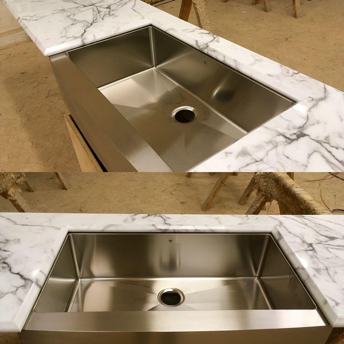Beautiful Calcutta Marble High Gloss Laminate Countertop With A Vigo  Stainless Steel Farm Sink. Custom