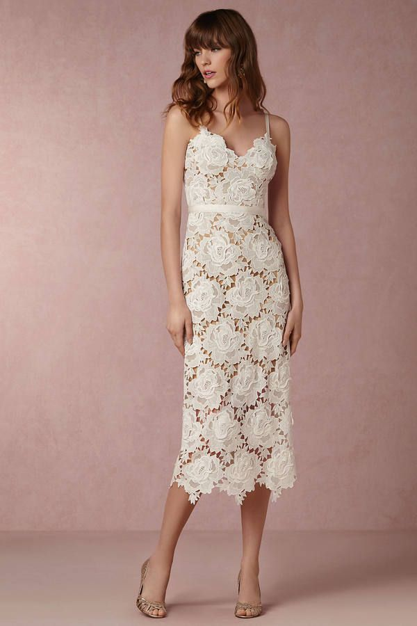 Elegant Lace Midi Dress With This Straps Anthropologie X Bhldn Frida Wedding Guest