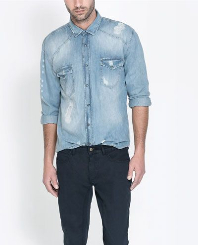 RIPPED DENIM SHIRT - Shirts - Man - New collection | ZARA Germany