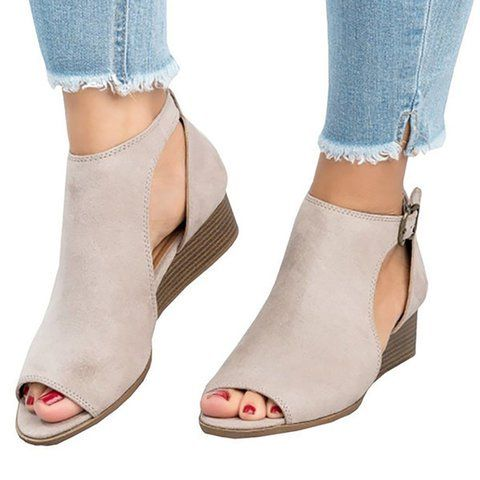b6b7c2f89 Buy Women s Shoes For Women at JustFashionNow. Online Shopping Large Size  Ankle Strap Peep Toe Wedge Sandals