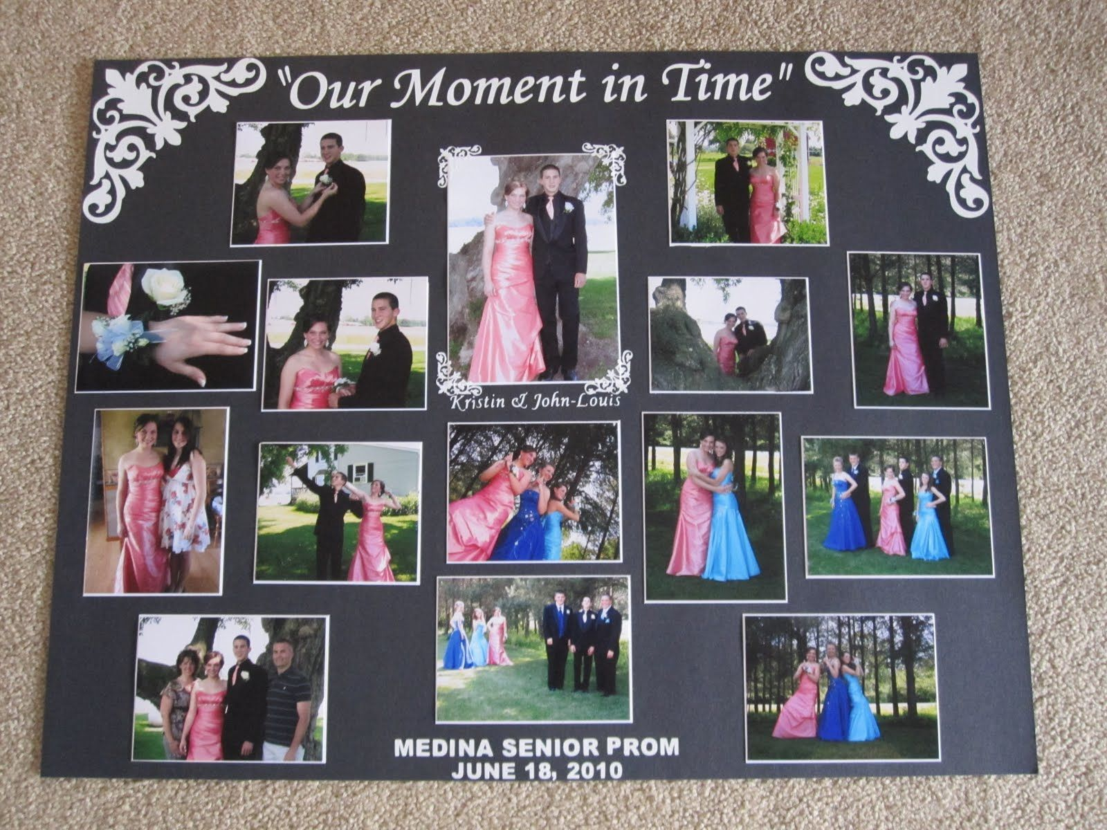 displaying photos on a boards for quinceanera party prom picture display board