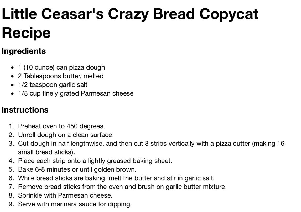 Little Caesars Crazy Bread For My Growling Belly Pinterest