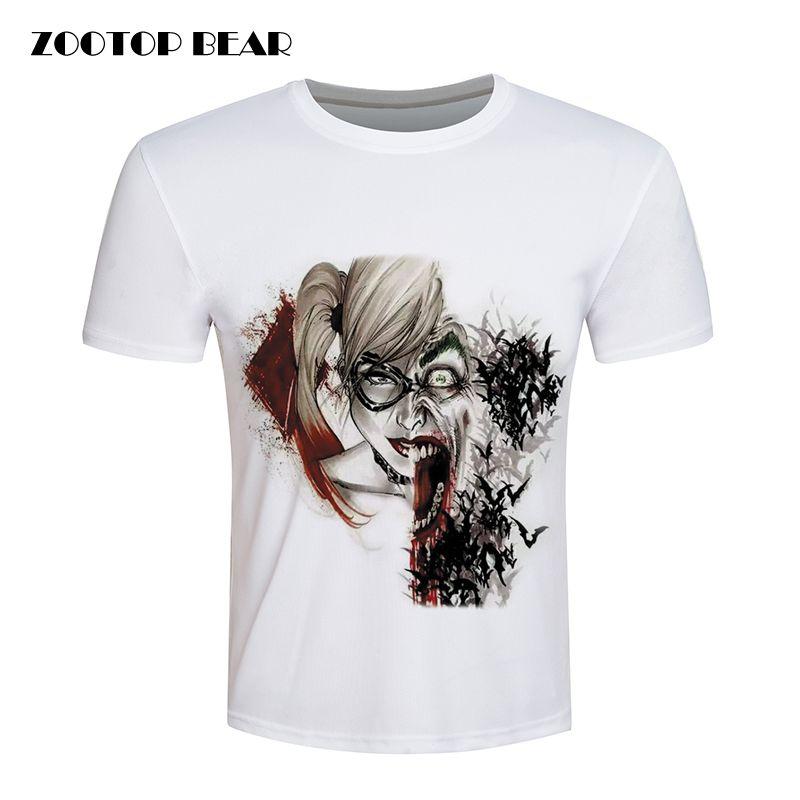Encontrar Más Camisetas Información acerca de Harley Quinn Tops Joker Camiseta  Impresa Hombres Comando Suicida Camiseta 68e3a0af3de42