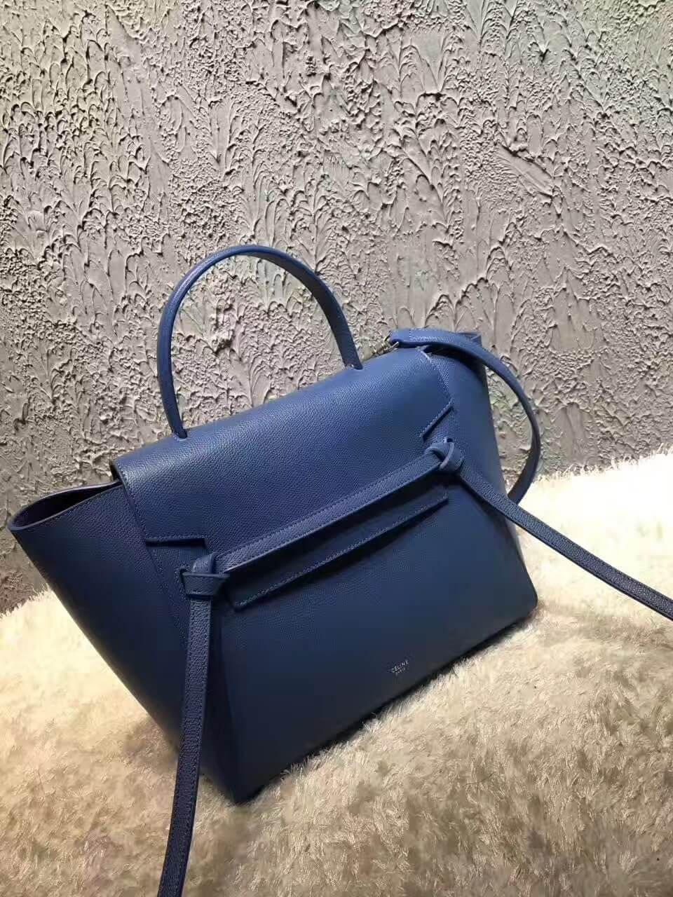 57a118e91b Celine Mini Belt Handbag In Washed Blue Grained Calfskin 2017 ...