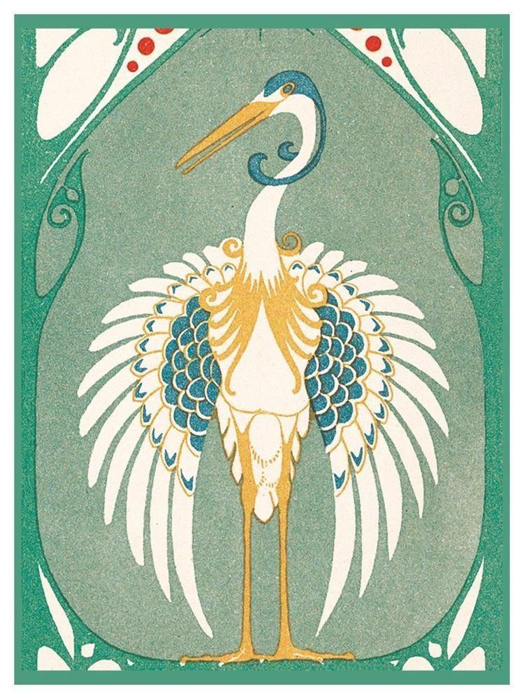 Art Nouveau Two Crane Birds Design detail Counted Cross Stitch Chart Pattern