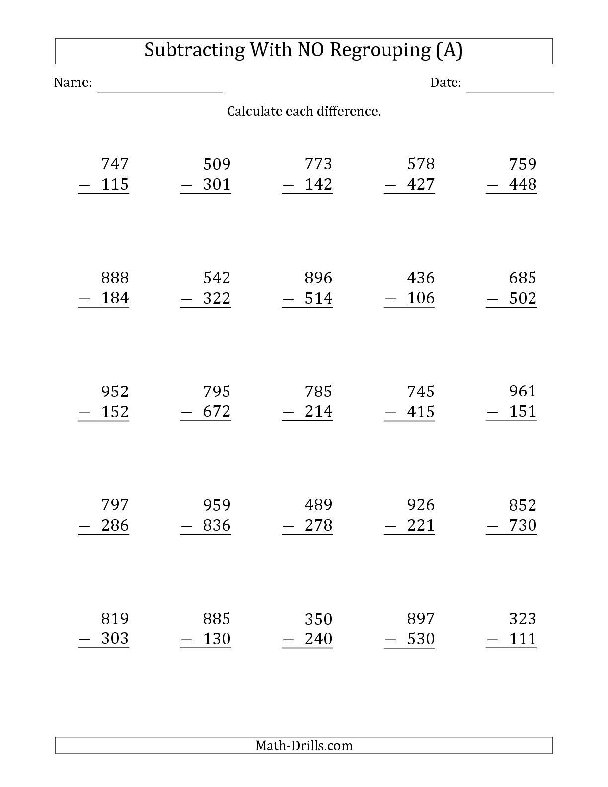 5 Printable Subtraction Worksheets In