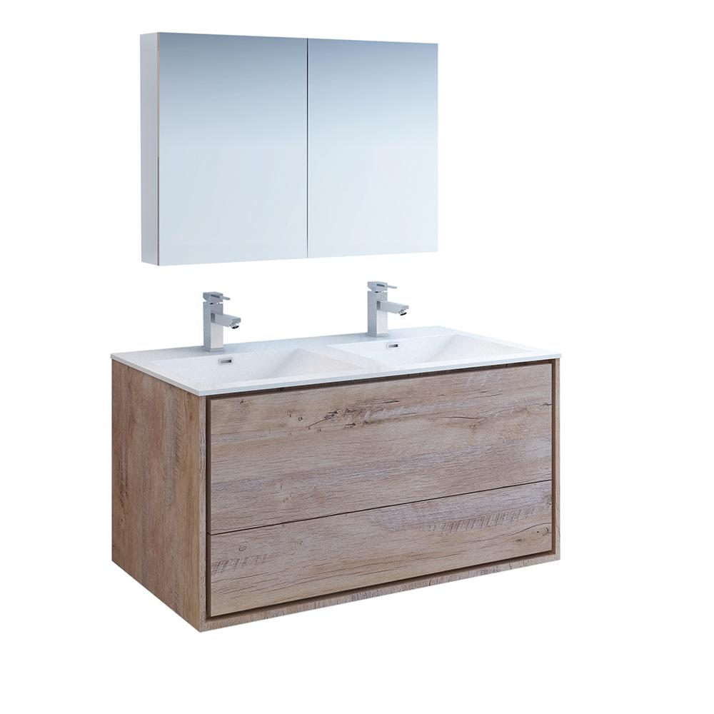 Fresca Catania 48 In Double Wall Hung Vanity In Rustic Natural