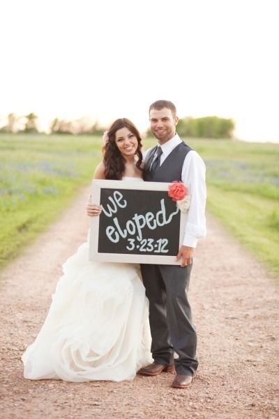 This Is A Cute Idea Snap Shot For Post Elopement Announcement