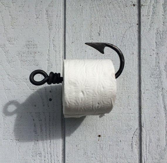 Photo of Toilet paper holder, fishing hook tissue holder, cabin decor