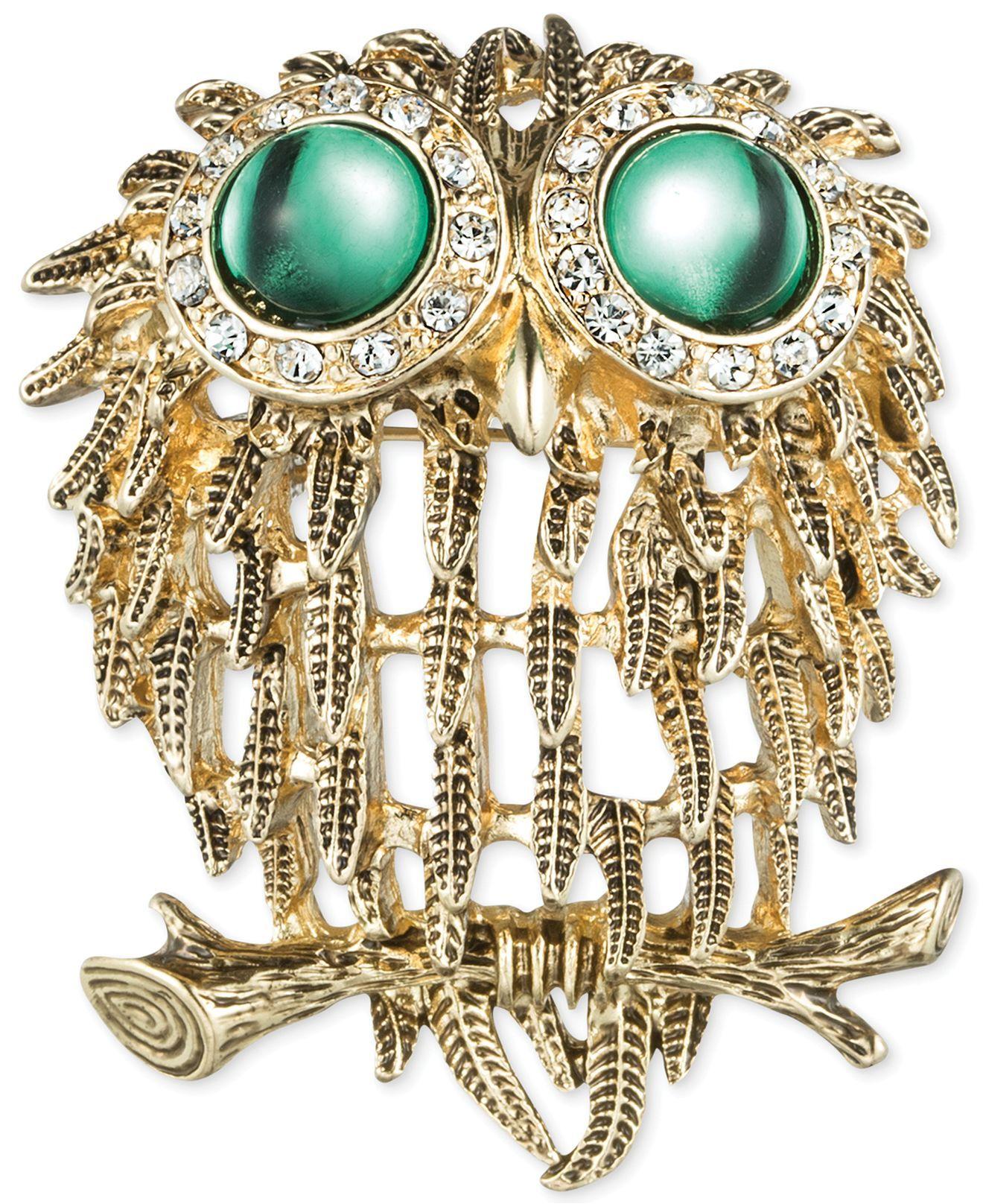 Jones New York GoldTone Green Cabochon and Crystal Owl