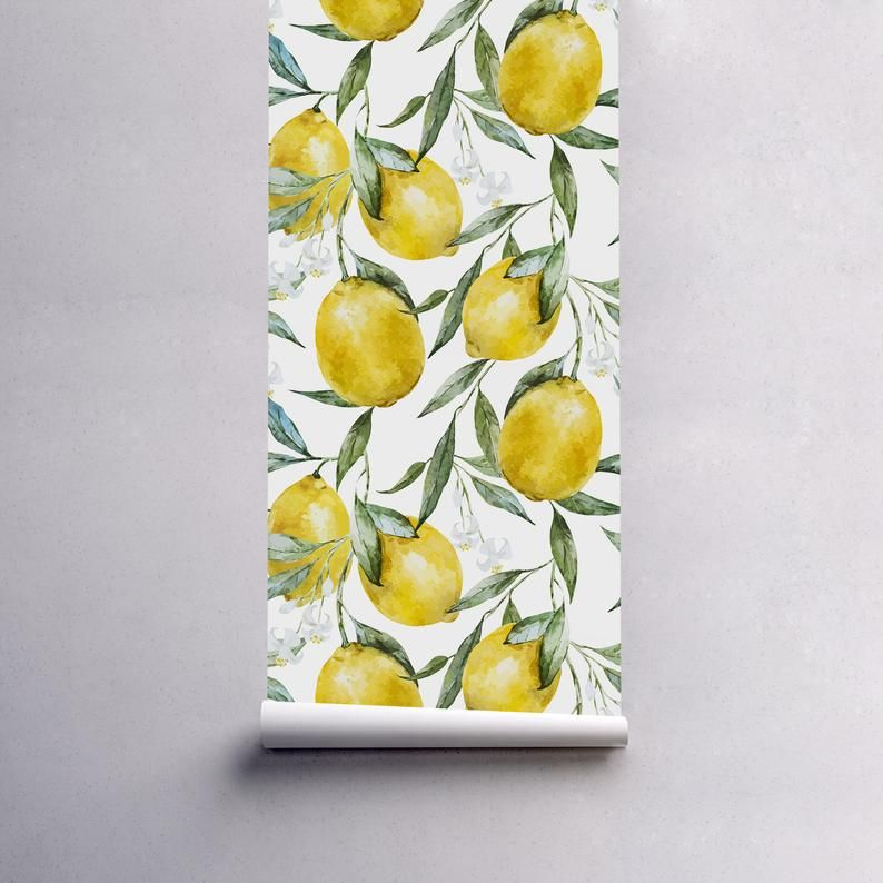 Lemons Removable Wallpaper Traditional White Print Wall Etsy Removable Wallpaper Wall Prints Wall Painting