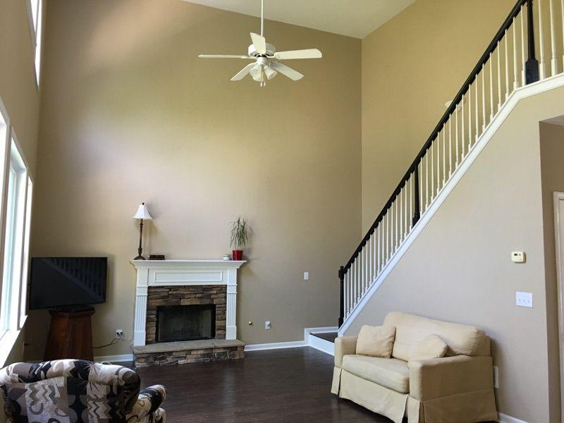 Family Room Ralph Lauren Na10 Sisal Walls Pergo Xp Coffee Handsed Hickory Floor Glidden Trim And Door Deepest Black Gloss Interior Exterior Oil