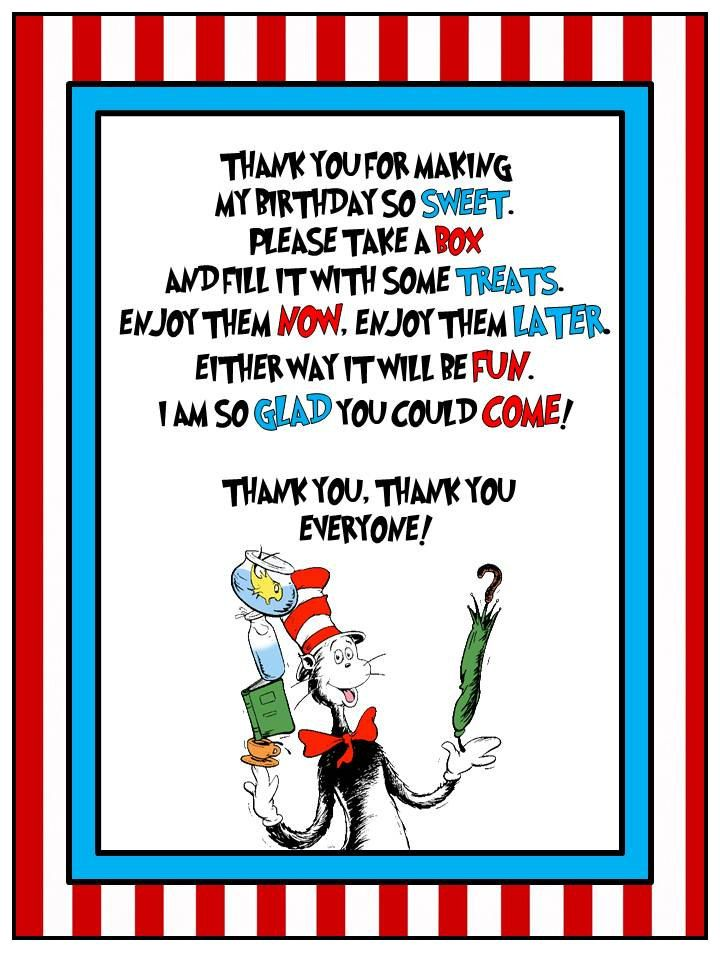 Dr Seuss Cat In The Hat Table Sign Printable By