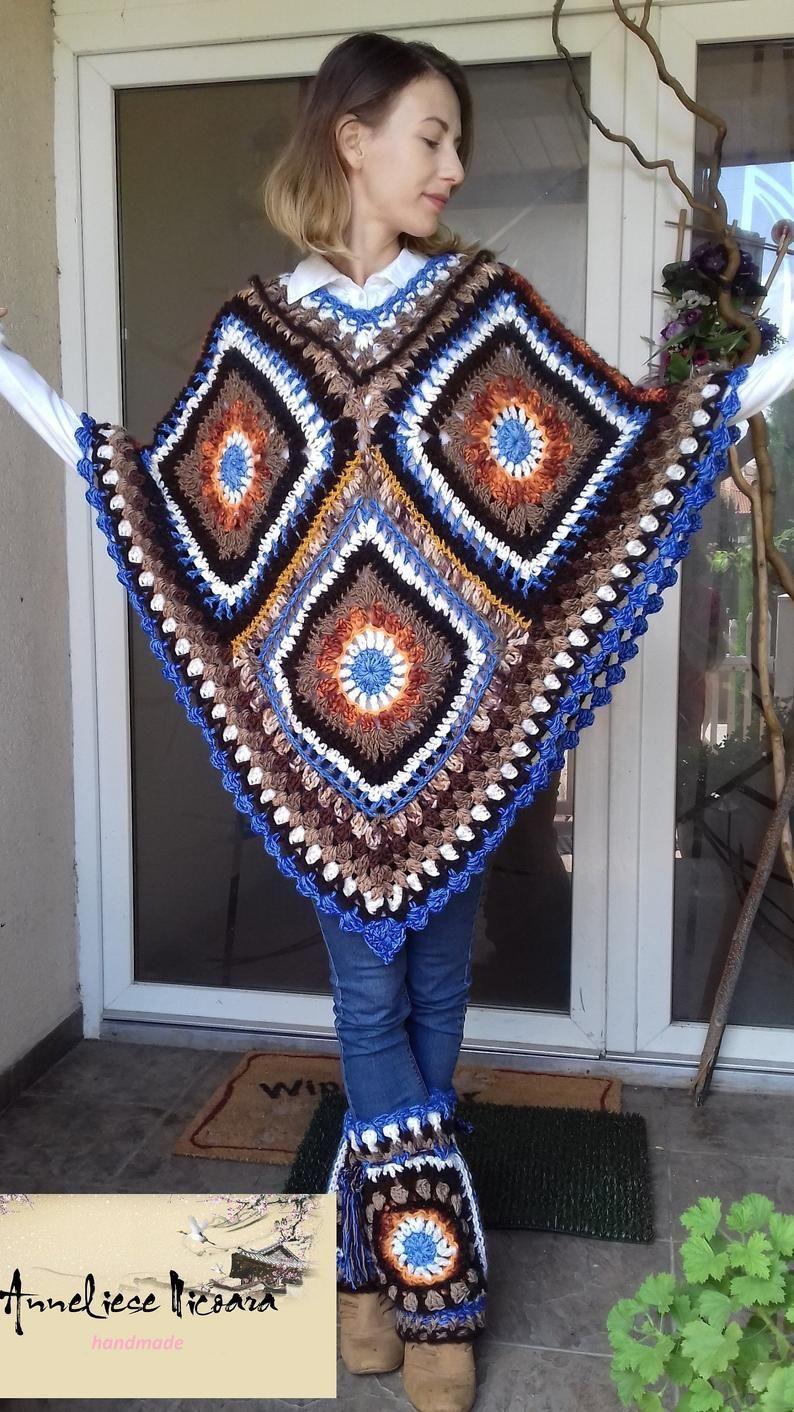 Crochet Poncho Granny squares #grannysquareponcho Crochet granny square poncho on Etsy