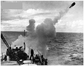 Depth charges were launched from the sides of Allied convoys and warships during the battle of the Atlantic to destroy U-boats underwater.