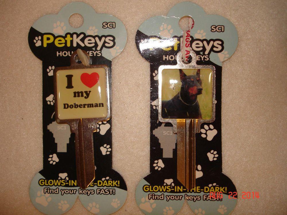 Set of Two I Love My Doberman House Key Blanks Glows in the Dark Pet Keys SC1 #PetKeys