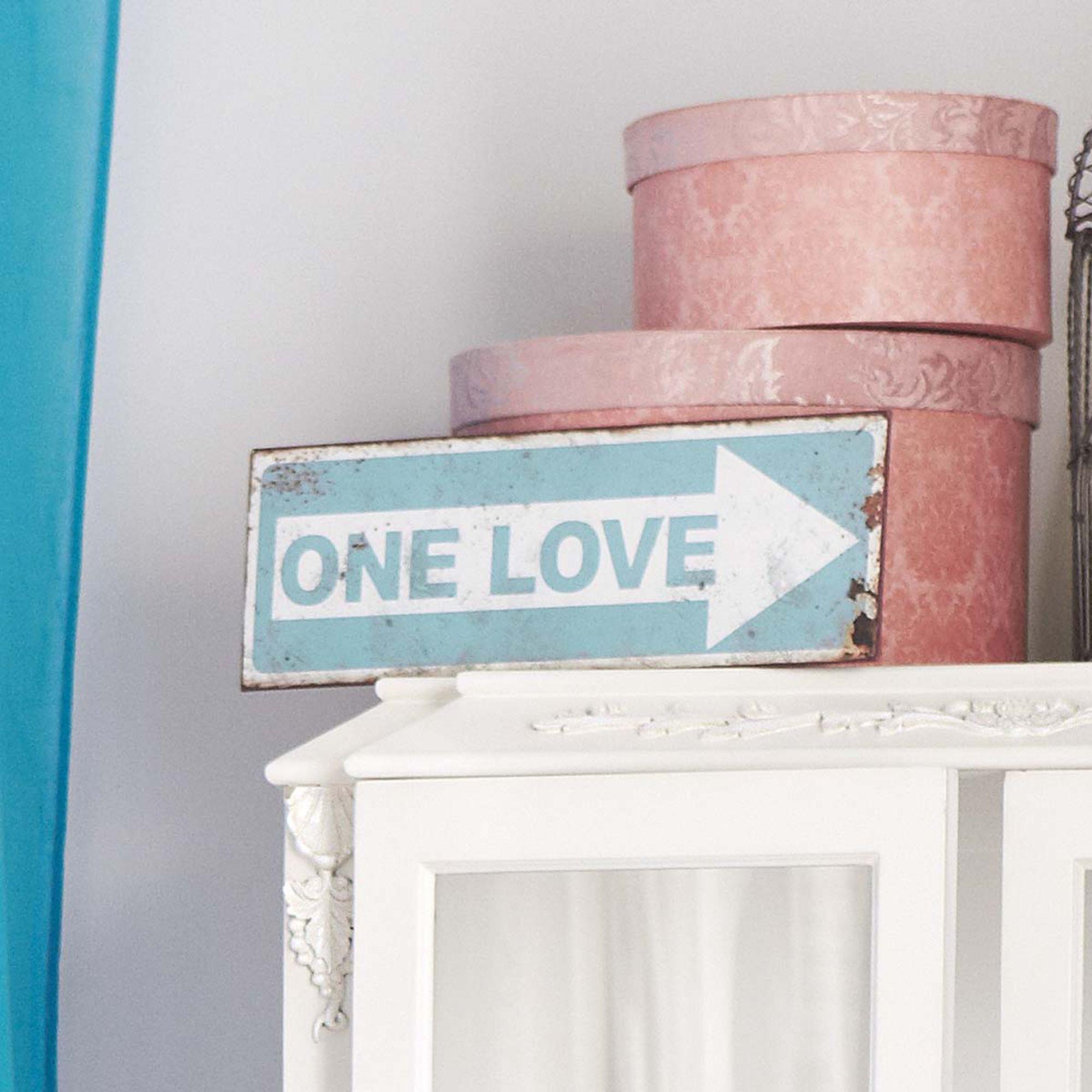"""""""One Love"""": Blechschild. #impressionen #quote #decoration"""