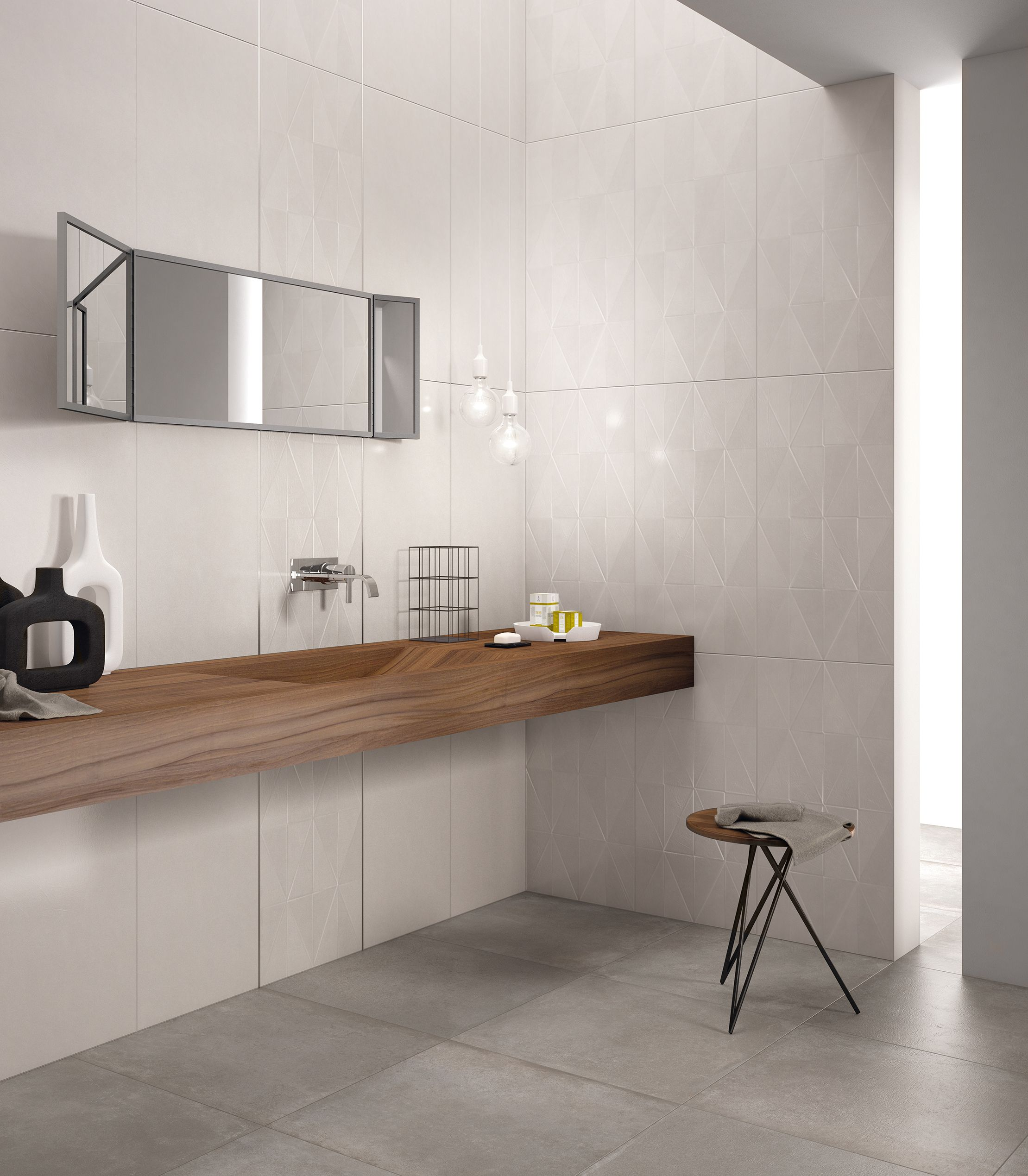 Questo bagno è stata realizzato con il colore Pearl Strutturato della nostra collezione da rivestimento Visual Design.  http://www.supergres.com/your-home/rivestimenti/item/925-visual  #Bathroom #RivestimentoBagni #WallTiles #CeramisOfItaly