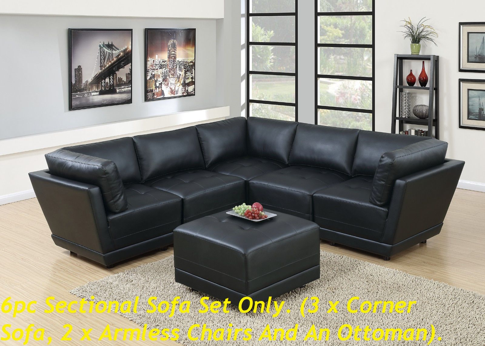 Black Bonded Leather Modular Sectional Sofa 6pc Set Tufted Seat Cushion Corners