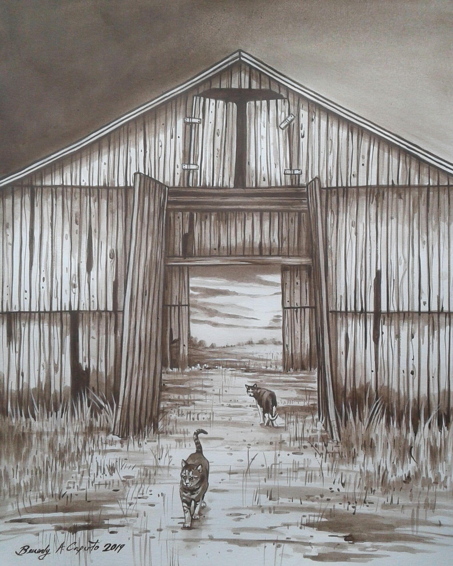 Barn Cats! Original painting by artist Beverly Caputo ...