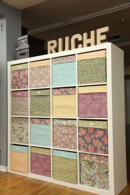 SO STINKING CUTE! D.I.Y. Fabric boxes. Doing this for my office!