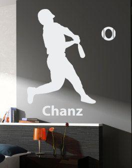 BASEball Player Custom Name  Baseball Frame children, boy wall decal, wall sticker, wall art. $28.00, via Etsy.