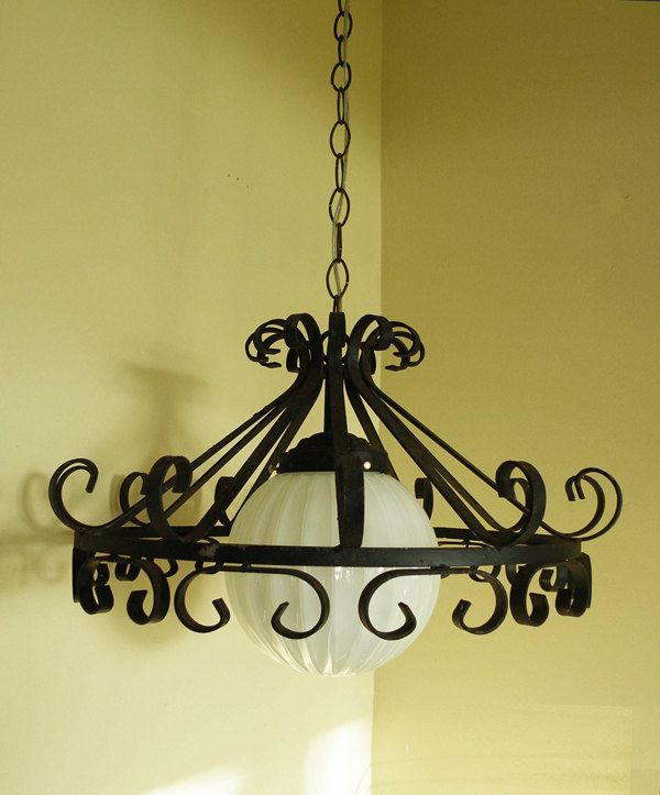 More Shabby Chic Halloween Interior Decor Ideas: Gothic Wrought Iron Swag Light // Refurbished Castle