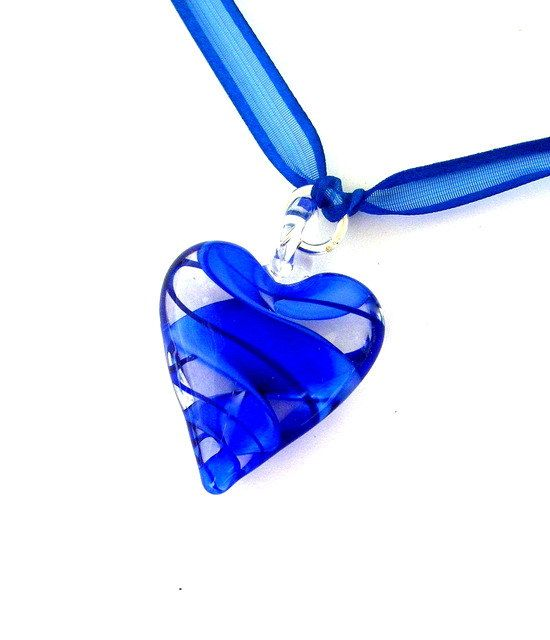 Cobalt blue heart necklace blue glass heart necklace by Mindielee, $23.00