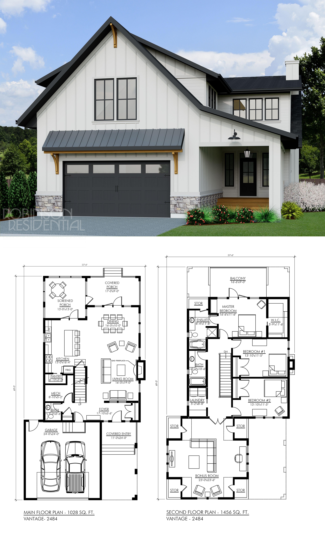 Modern Farmhouse Vantage 2484 New House Plans Small House Plans Building A House