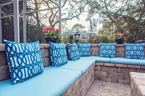 Sunbrella RAIN Fire Pit Cushions and Pillows Add Color Pops to Patio