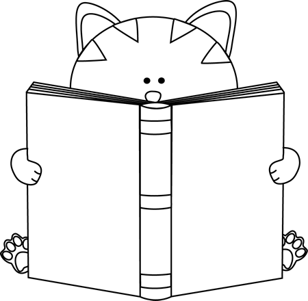 Black And White Cat Reading A Book Cat Reading White Cat Book Clip Art