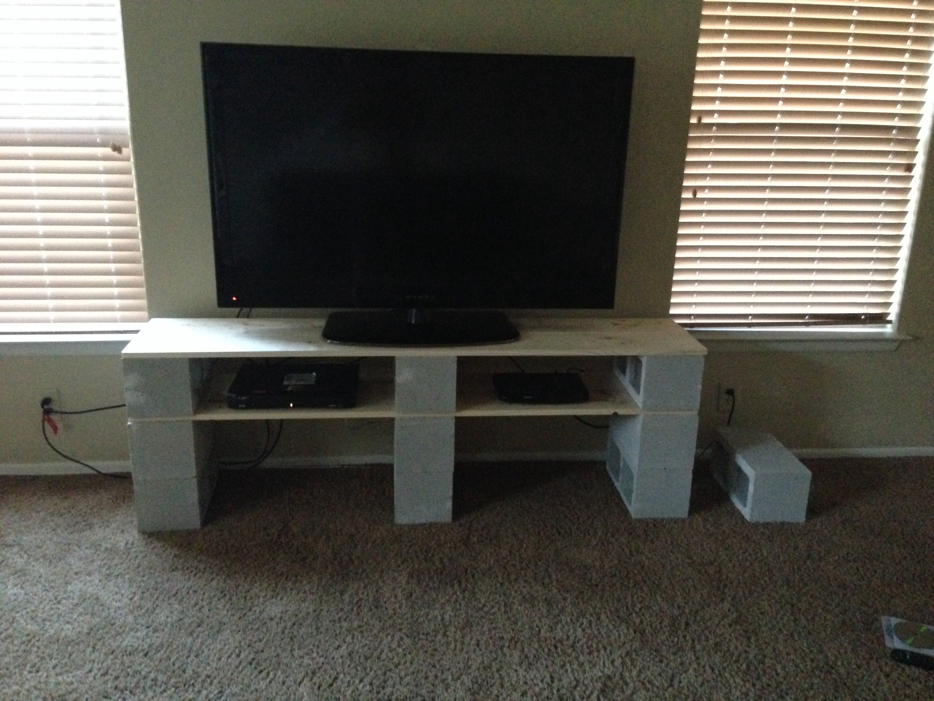 f gray polished concrete block for tv stand using white