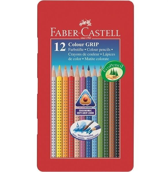 Details About Faber Castell Coloured Pencil Colour Grip Tin 12 Boys Girls And Faber Castell Colores Faber Castell Lapices Lapices De Colores