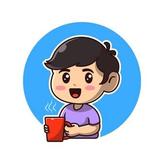 Download Cute Boy Holding Hot Coffee Cartoon Icon Illustration For Free Coffee Cartoon Cartoons Vector Cartoon Icons