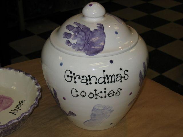 Pin By Pottery Piazza On Hand Foot Print Pottery Painting Ideas Cookie Jar Gifts Grandma Cookie Jar Cookie Jars Diy