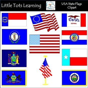 USA State Flags Of The US Clip Art This PACK Contains 55 High