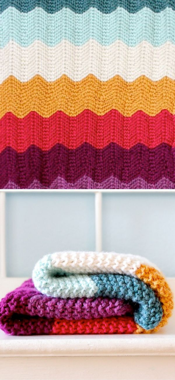 Wavy Knitted Blankets | Chevron baby blankets, Knitted ...