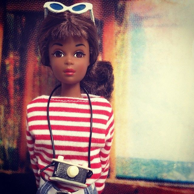 Black Francie Fairchild® in a Coco Chanel Marinière of Breton red nautical stripes (tricot rayé rouges), Lunettes de soleil & Camera (Tripnity® Iconoscquare ©Roberta Marrero, Aug 15, 2014: https://www.tumblr.com/search/black%20francie)
