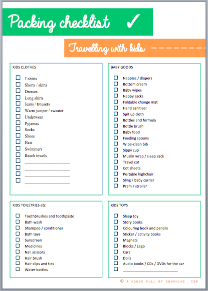 Packing for kids – with FREE printable and a giveaway