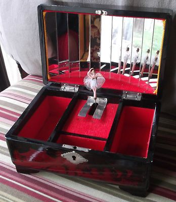 Vintage Pop Up Ballerina Music Jewelry Box Asian Japanese
